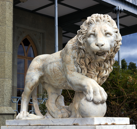 Lion marble sculpture in Vorontsov Palace, Crimea, Ukrain