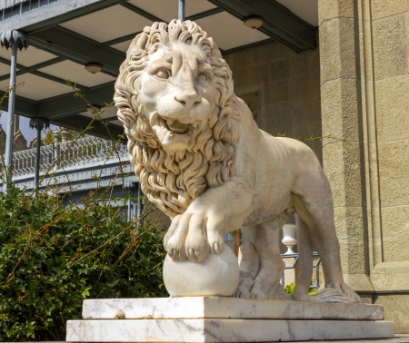 Lion marble sculpture in Vorontsov Palace, Crimea, Ukrain Stock Photo - 22826186