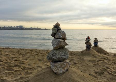 Stones balance, pebbles stack over sea. Barcelona. Spain. Reklamní fotografie