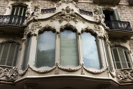 facade house window and balcony of Barcelona. Spain photo