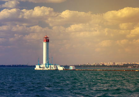 Vorontsov lighthouse vintage background in Odessa harbor, Ukraine   photo