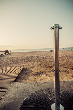 Beach Barcelona. Catalonia, Spain. Vintage retro style photo