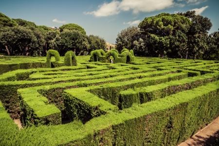 warren: Park Labyrinth in Barcelona. Catalonia, Spain. Vintage retro style