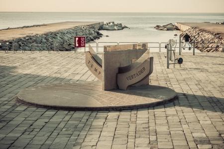 Temp vertader Beach Barcelona. Catalonia, Spain. Vintage retro style