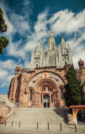 Jesus Christ on Church Sacred Heart.Tibidabo. Barcelona. Vintage retro style Stock Photo - 23961698