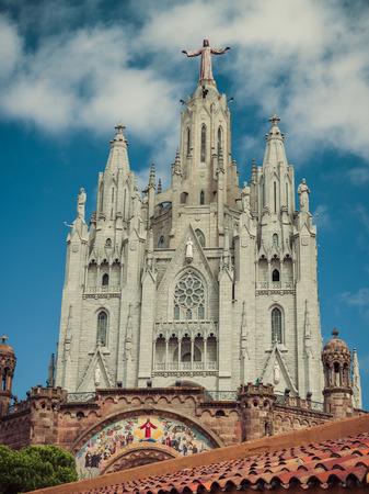 tibidabo: Jesus Christ on Church Sacred Heart.Tibidabo. Barcelona. Vintage retro style