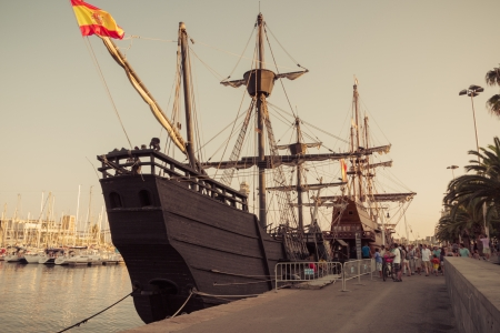 BARCELONA - AUGUST 18: Old sailship in Port Vell. August 18, 2012, in Barcelona, Spain.
