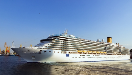 deliziosa: ODESSA, Ukraine - August 23: Cruise ship Costa Deliziosa came into the port of Odessa, Ukraine on August 23, 2013. Costa Cruises - the largest European cruise operator.