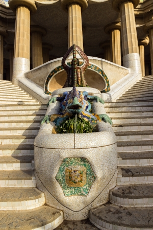 Mosaic lizard, salamander in the park Guell in Barcelona - Spain photo