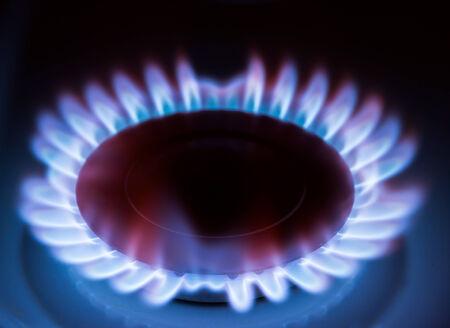 Blue gas flame on hob