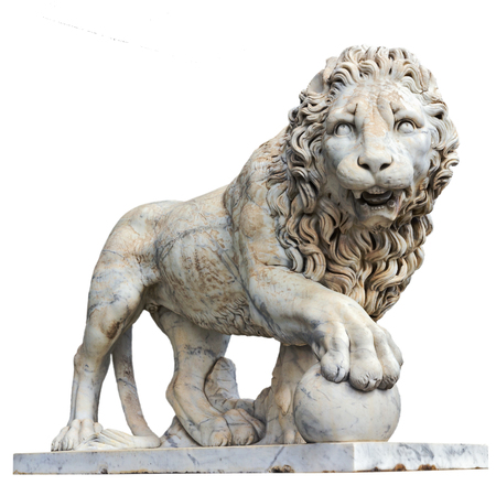 Marble sculpture of lion isolated in white. Vorontsov Palace. Alupka, Crimea, Ukraine. 版權商用圖片