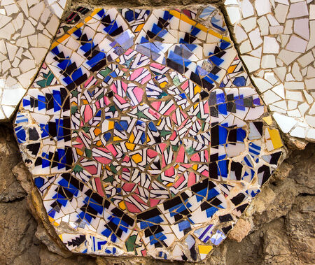 mosaic on the Parc Guell in Barcelona, Spain