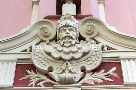 modernist: sculptures of baroque style, Building of Red hotel. Odessa, Ukraine