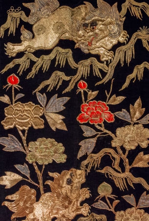Vintage Japanese dragon, flowers on kimono photo