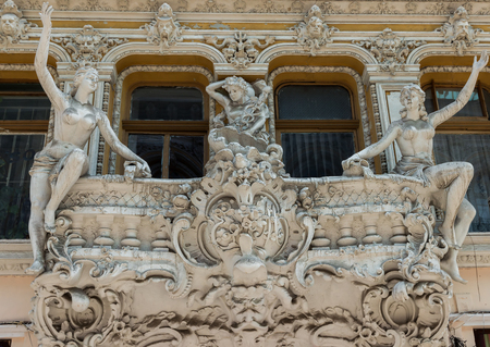 modernist: sculptures of modernist style on the balcony.Odessa passage
