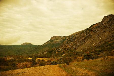 hill of tara: Road in mountains summer landscape. Crimea, Ukraine
