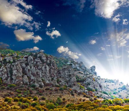 hill of tara: mountain landscape - rocks of mount Southern Demerdji  Crimea, Ukraine Stock Photo