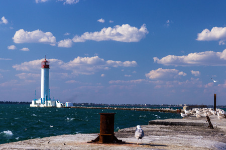 Vorontsov lighthouse in Odessa harbor, Ukraine.  photo