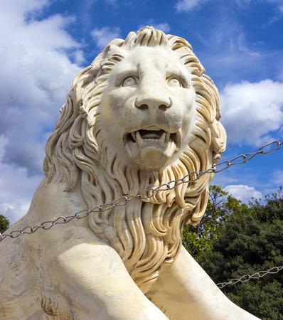 alupka: Marble sculpture of lion chain  Vorontsov Palace  Alupka, Crimea,