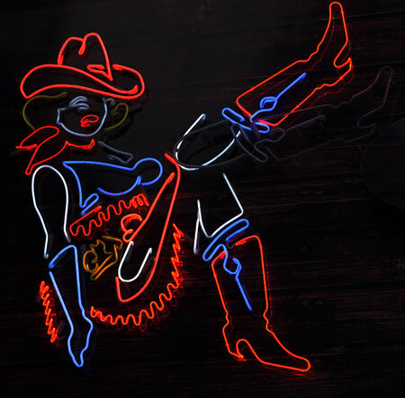 red cowboy silhouette neon sign art girl blue photo