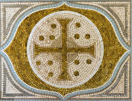 Mosaic tile gold cross christianity religious decor photo