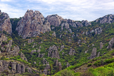 hill of tara: Valley of Ghosts scenic mountain landscape Crimea Demerdzhi Stock Photo