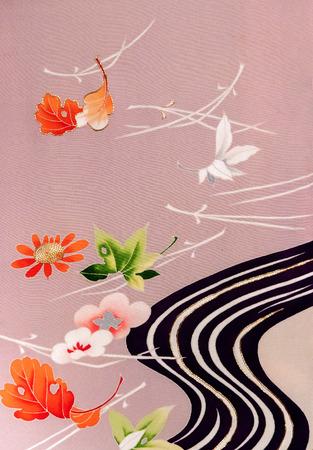 Japan pattern on kimono floral Japanese style background
