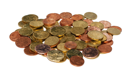 Euro coins heap isolated on white backgound photo
