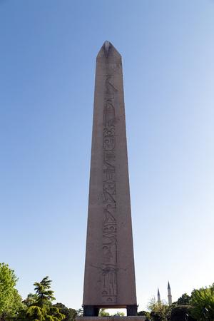 obelisk stone: Obelisk of Theodosius (Egyptian Obelisk) near Blue Mosque(Sultanahmet camii) in the ancient Hippodrome Istanbul, Turkey