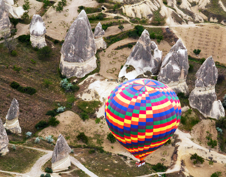 rainbow hot air balloons. Cappadocia, Turkey photo