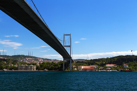 First Bosphorus Bridge sailling Bosphorus, Istanbul, Turkey