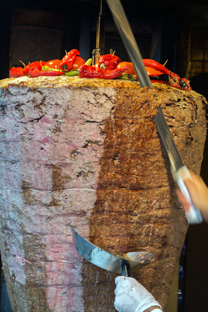 Turkish food Doner Kebab in the restaurant