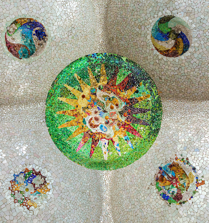 ceramic mosaic sun at Guell Park