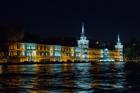night school: Kuleli military high school night front view, Bosporus, Turkey.