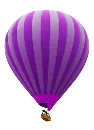 balloon drawing: hot air striped violet balloon isolated on white background