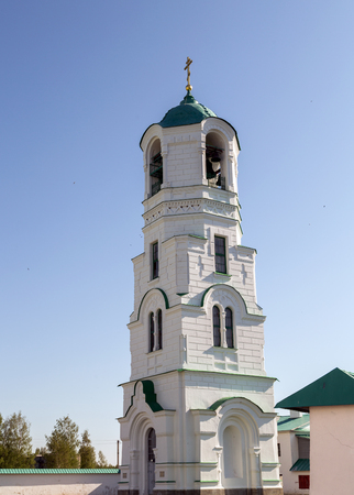 transfiguration: Bell tower in Transfiguration part of Holy Trinity St. Alexander of Svir Monastery. Leningrad Oblast. Russia Stock Photo