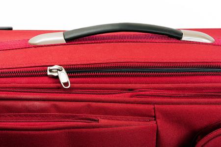 valise: red valise isolated on white background Stock Photo