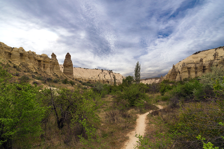 dirtied: Love valley in Goreme, Cappadocia, Turkey. Stock Photo