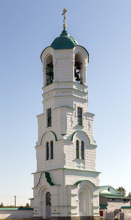 Bell tower in Transfiguration part of Holy Trinity St. Alexander of Svir Monastery. Leningrad Oblast. Russia photo
