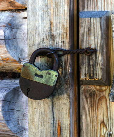 hasp: padlock with hasp on the old door