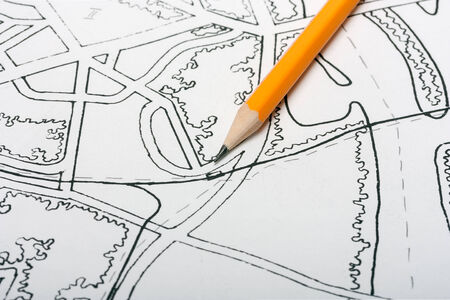map pencil: town map pencil to draw