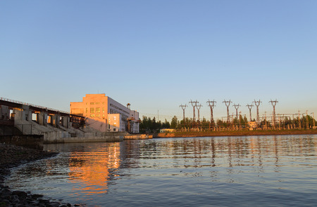 High-voltage substation hydroelectric in the Svir river