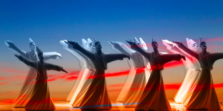 Dance Whirling Dervishes silhouette in sunset