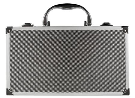 closed suitcase white isolated photo