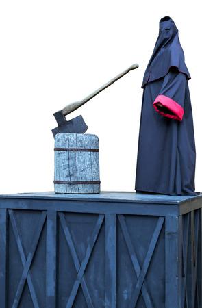 executioner block axe mantle - Hangman in scaffold Stock Photo