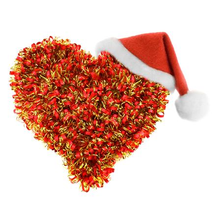 festoon: Santa hat in festoon heart isolated on white