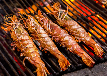 Grill prawn cooking seafood. background eat Restaurant