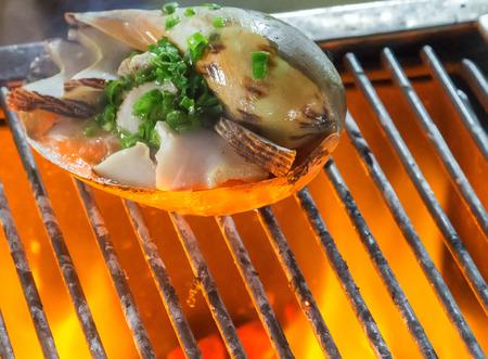 mariscos: mejillones Barbacoa mariscos cocinar. fondo comer restaurante