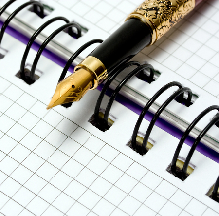 gold record: Open notebook with fountain pen