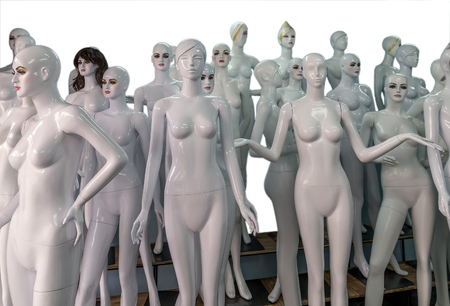 nude breasts: naked mannequins for sale isolated in white